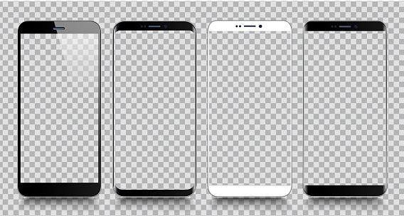 Smartphone Mobile Phone Template Telephone Realistic Vector Illustration Of Digital Devices - Arte vetorial de stock e mais imagens de Agenda Eletrónica