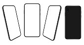 Smartphone. Mobile phone Template. Telephone. Realistic vector illustration of Digital devices. Front and Rear View