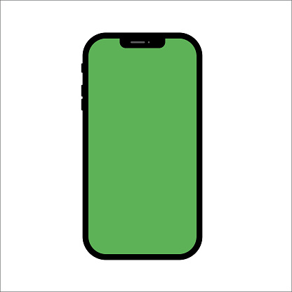 Smartphone mock up, vector phone icon isolated on white background with green screen.