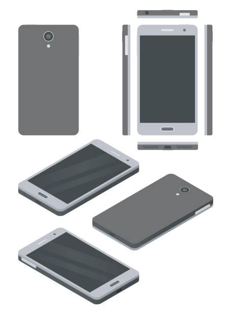 Smartphone mock-up, isometric and flat design styles vector art illustration