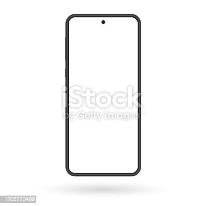 istock Smartphone mockup. Mobile phone screen blank. Black cellphone isolated on white background. Vector illustration. 1205220469