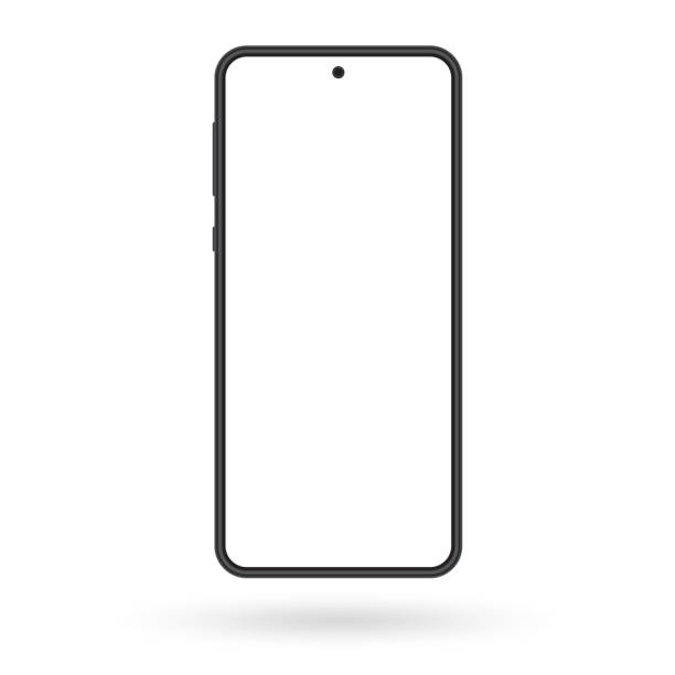 Smartphone mockup. Mobile phone screen blank. Black cellphone isolated on white background. Vector illustration. Smartphone mockup. Mobile phone screen blank. Black cellphone isolated on white background. Vector illustration. cyborg stock illustrations