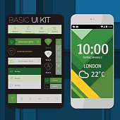 Flat material design smartphone mockup with material background and basic UI/UX kit. Transparency, 10 EPS.