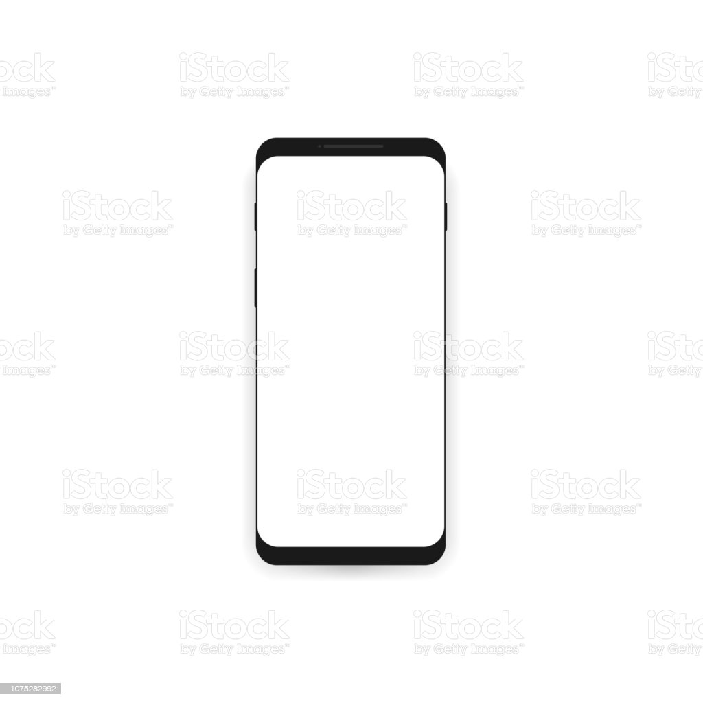 Smartphone mockup with white blank screen. vector art illustration