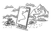 Hand-drawn vector drawing of a Smartphone Mountainbike Trip Guide Concept. Black-and-White sketch on a transparent background (.eps-file). Included files are EPS (v10) and Hi-Res JPG.