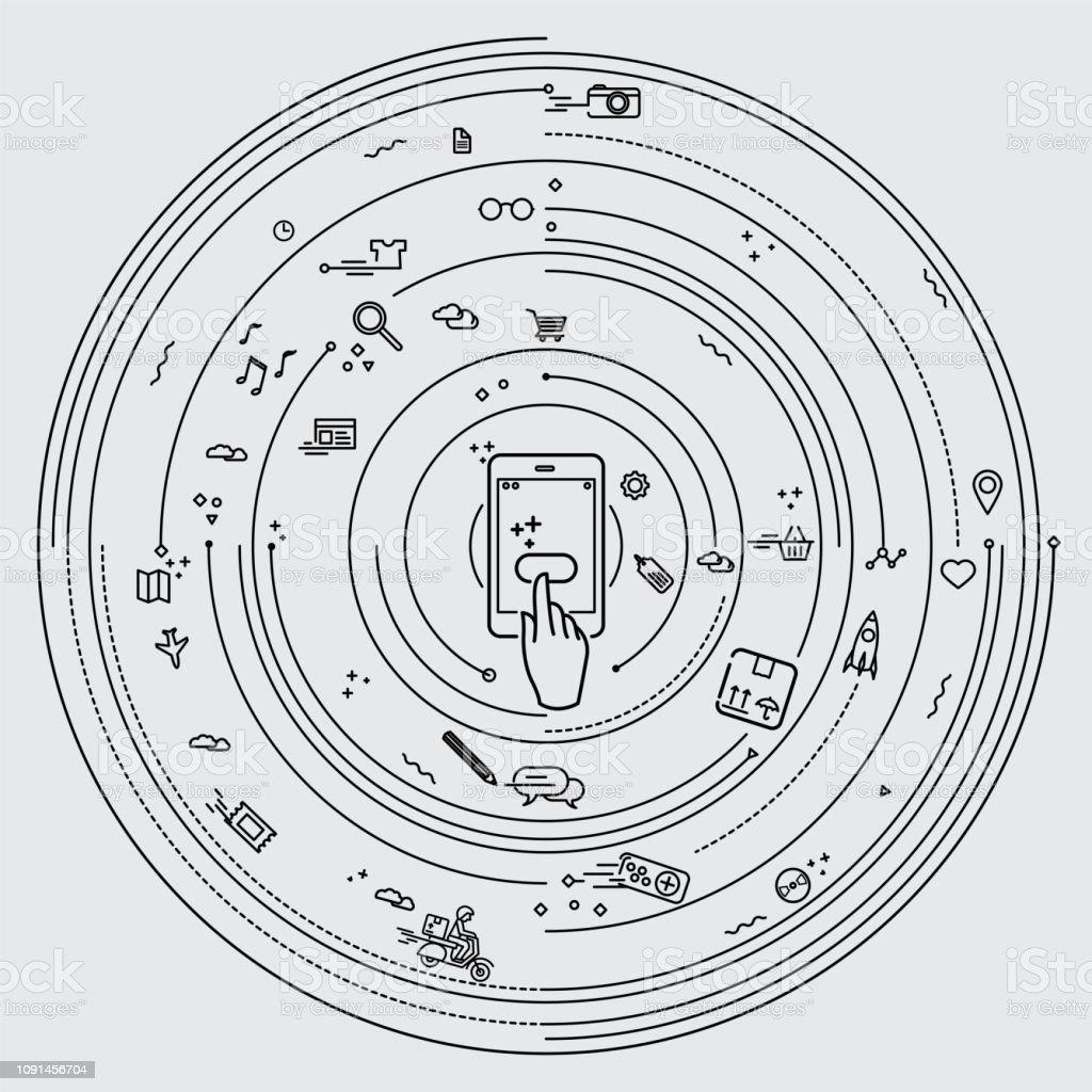 Smartphone networking vector art illustration