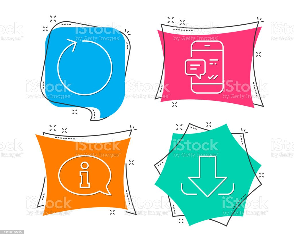 Smartphone-Benachrichtigung, Schleife und Informationen Icons. Download Zeichen. Chat-Nachricht, Refresh, Info-Center. - Lizenzfrei Berühren Vektorgrafik