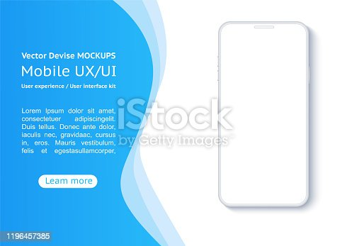 Conceptual mobile phones for user interface, user experience presentation. Frame less smartphone. Vector Illustration UI/UX design.