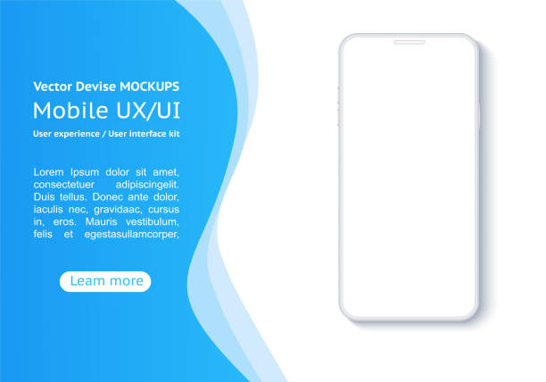 Smartphone on a background of blue abstract elements. Conceptual mobile phones for user interface, user experience presentation. Frame less smartphone. Vector Illustration UI/UX design. white color stock illustrations