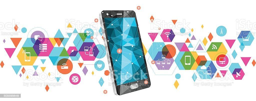 スマートフォンのデザインをベースにネットワーク ベクターアートイラスト