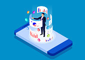 istock Smartphone online data analysis and management tool, data analysis mobile application 1269463789