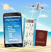 smartphone online flight booking ticket passport