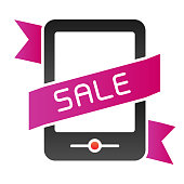 Smartphone online sales flat icon. Online discount color icons in trendy flat style. Mobile shopping gradient style design, designed for web and app. Eps 10
