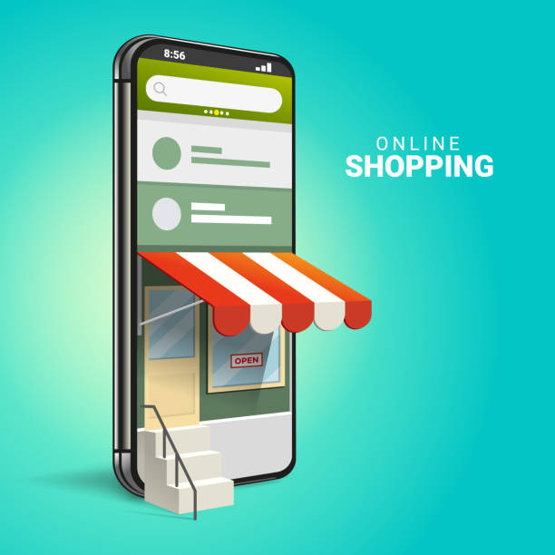 3D smartphone Online Shopping Concepts 3D Online Shopping on Websites or Mobile Applications Concepts of Vector Marketing and Digital Marketing. with isometric smartphone design and perspective illustration. for online store promotion. online shopping stock illustrations