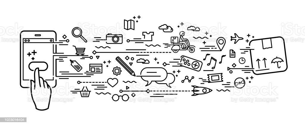 Smartphone online alışveriş vektör sanat illüstrasyonu