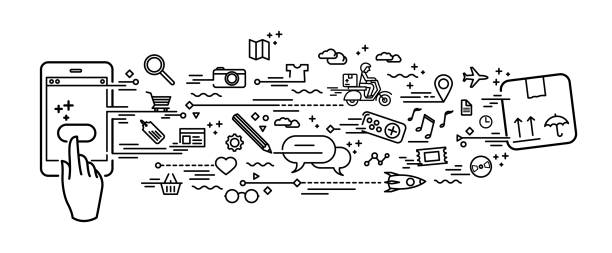 Smartphone online shopping vector art illustration