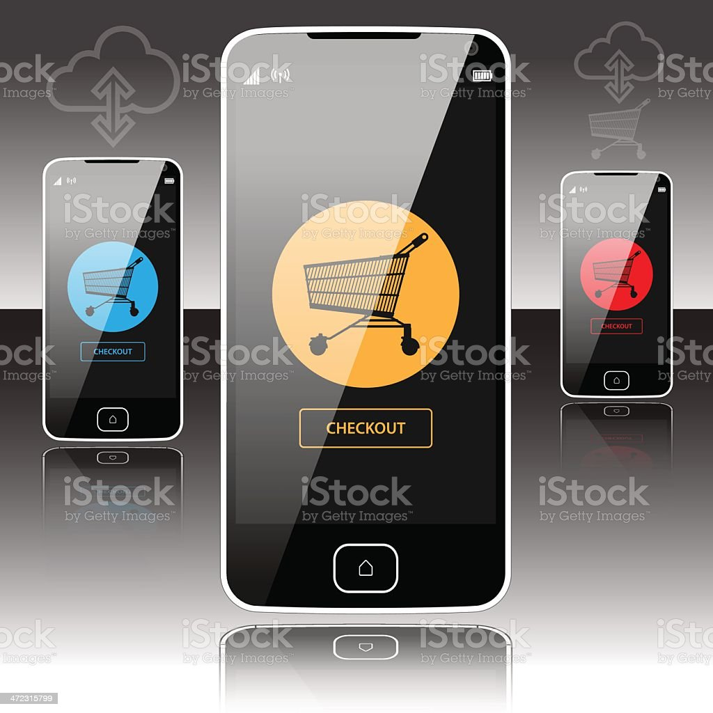 SmartPhone Online Shopping royalty-free stock vector art