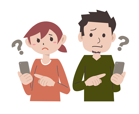 Smartphone operation couples couples men and women