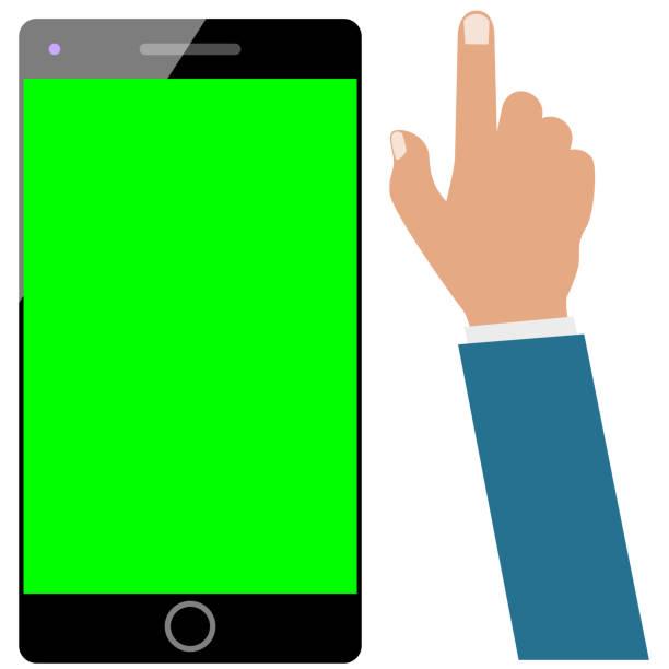 stockillustraties, clipart, cartoons en iconen met smartphone of mobiele telefoon of mobiel groen scherm en zakenman hand geïsoleerd op wit. set klaar voor be animated - green screen