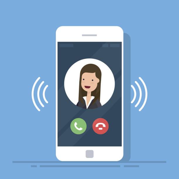 akıllı telefon veya cep telefonu arama veya iletişim bilgileri ekranda, telefon simgesini halkası ile titreşim. düz çizgi film cep telefonu çalıyor. vektör çizim. - telefon kullanımı stock illustrations
