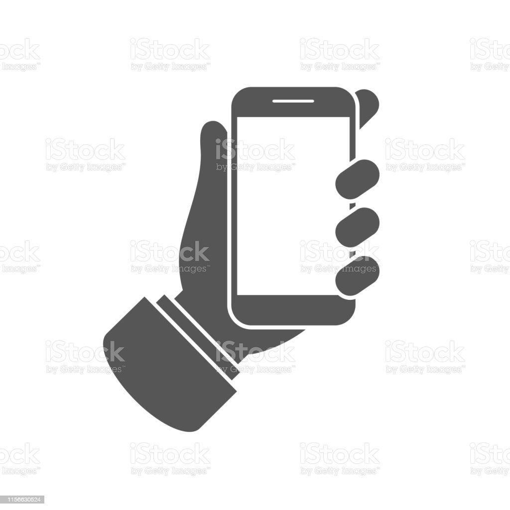 Smartphone eller mobil telefon i handen ikon - Royaltyfri Använda telefon vektorgrafik