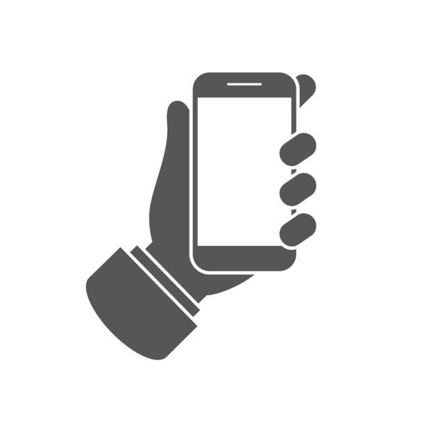 smartphone or mobile phone in hand icon - phone hand stock illustrations