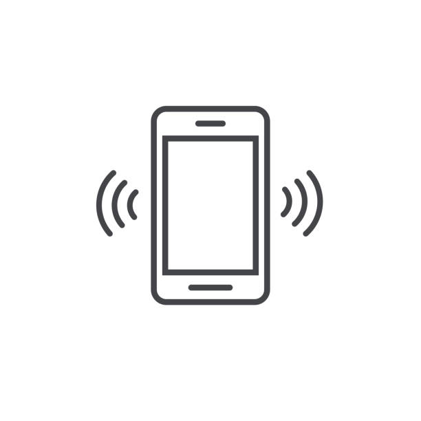 Smartphone or mobile phone ringing vector icon, line art outline cellphone call or vibrate pictogram, ring of phone symbol design Smartphone or mobile phone ringing vector icon, line art outline cellphone call or vibrate pictogram, ring of phone symbol shaking stock illustrations