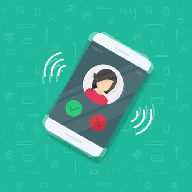 illustrations, cliparts, dessins animés et icônes de smartphone ou téléphone portable sonnant vector illustration, dessin animé plane design téléphone portable appeler ou vibrer avec les informations de contact sur l'écran, anneau de l'icône du téléphone - bague