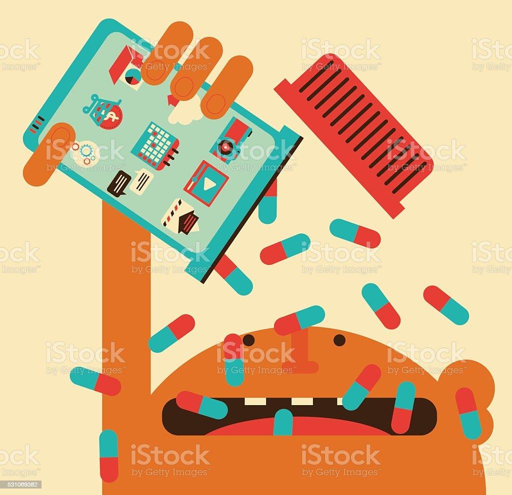 Smartphone Overdose vector art illustration