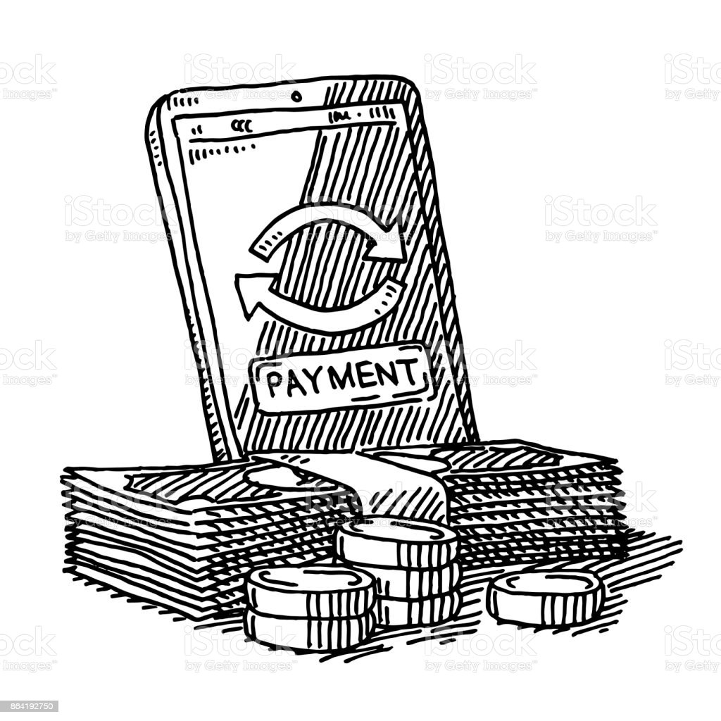 Smartphone Payment Money Transfer Drawing royalty-free smartphone payment money transfer drawing stock vector art & more images of arrow symbol