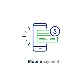 Smartphone payment technology, financial concept, line icon