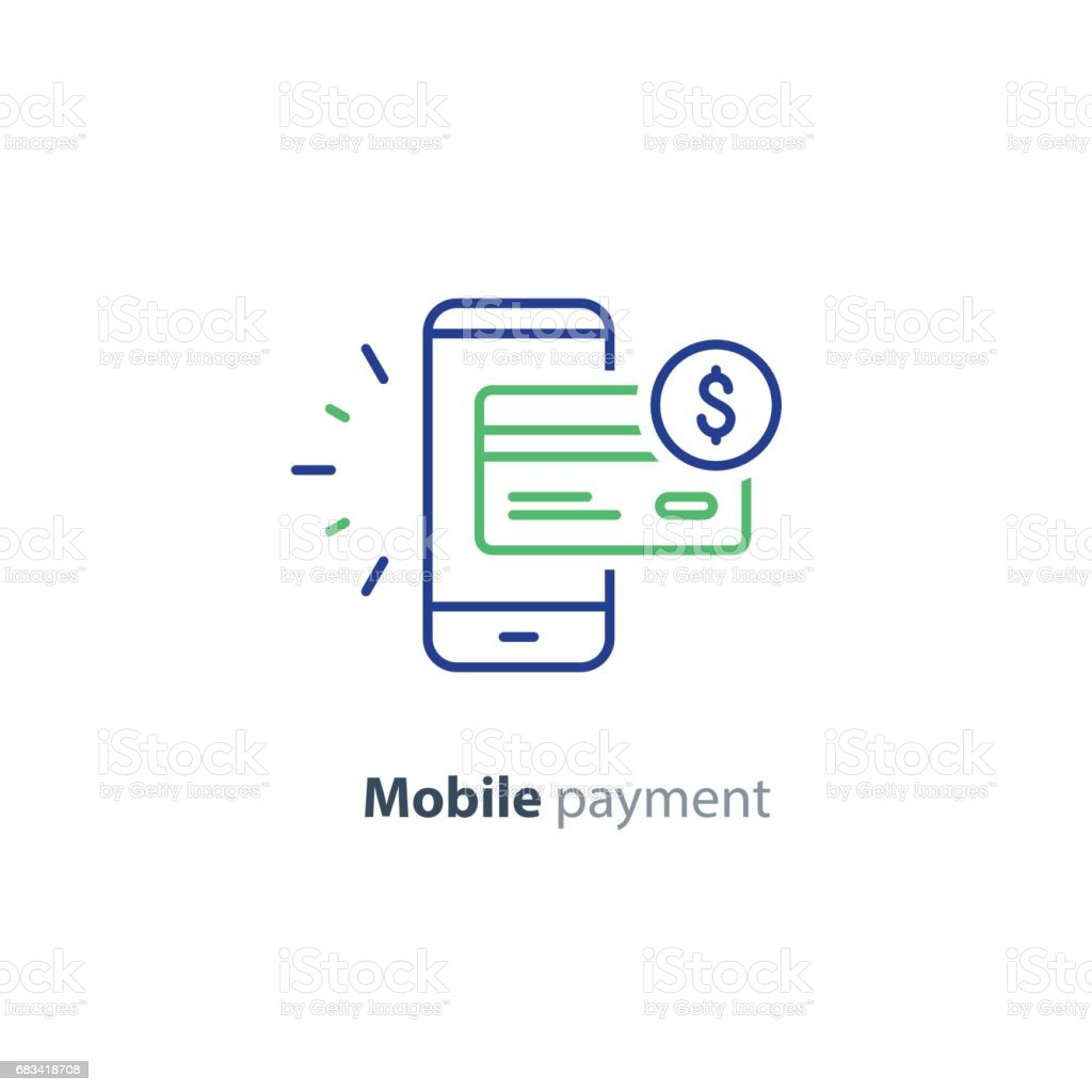Smartphone payment technology, financial concept, line icon vector art illustration