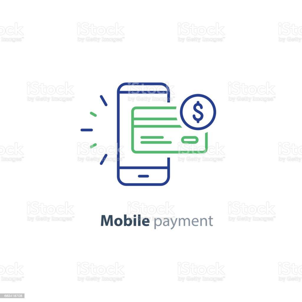 Smartphone ödeme teknoloji, mali kavramı, satırı simgesi vektör sanat illüstrasyonu
