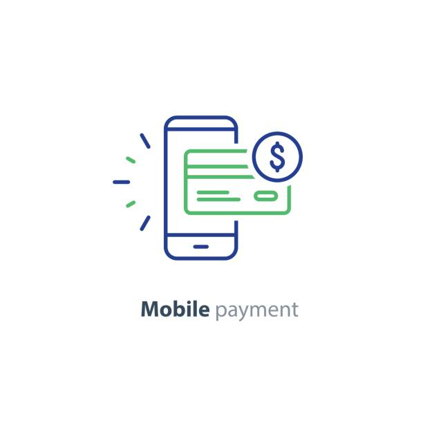 stockillustraties, clipart, cartoons en iconen met smartphone betaling technologie, financiële concept, lijn pictogram - mobiele betaling