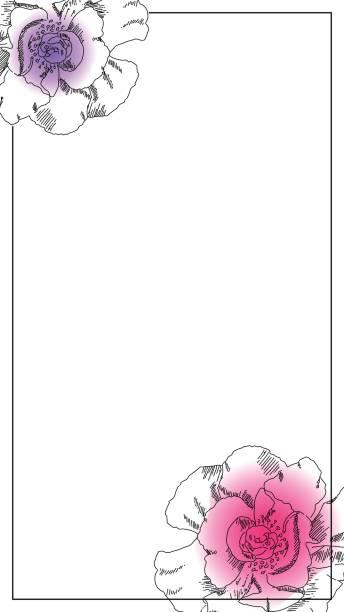 smartphone-fotorahmen. schwarze tinte pfingstrose blüte ornament. snapchat messenger hochzeit geofilter. - snapchat stock-grafiken, -clipart, -cartoons und -symbole