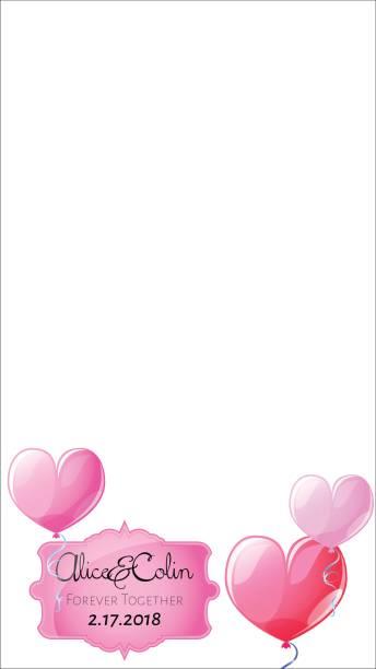 smartphone-fotorahmen. rosa herz luftballon ornament. snapchat hochzeit geofilter. - snapchat stock-grafiken, -clipart, -cartoons und -symbole