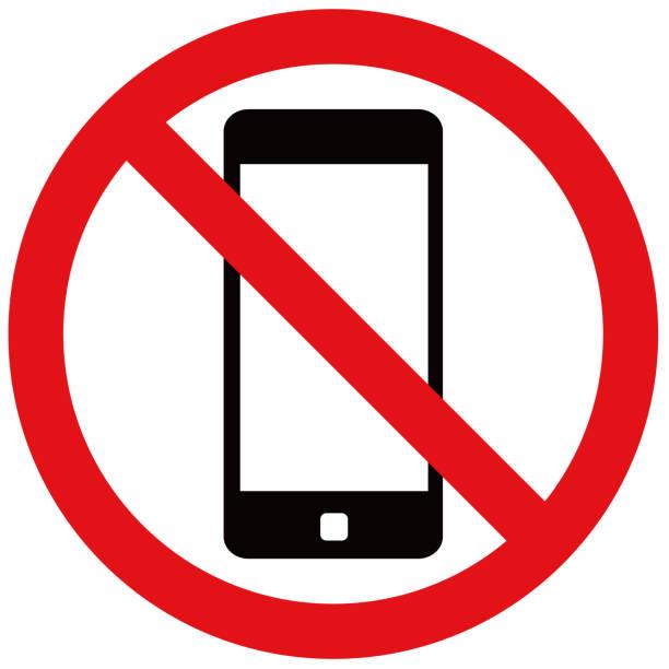 smartphone-verbotsmarke. - ausstoßen stock-grafiken, -clipart, -cartoons und -symbole