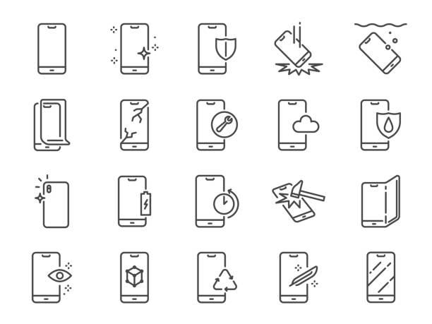 ilustrações, clipart, desenhos animados e ícones de jogo do ícone da linha da proteção do smartphone. ícones incluídos como a cidade do telefone móvel, filtro, protetor de tela, impermeável, qualidade e muito mais. - {{relatedsearchurl(carousel.phrase)}}