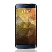 Smartphone realistic mock up with triangular Abstract background. Vector Illustration