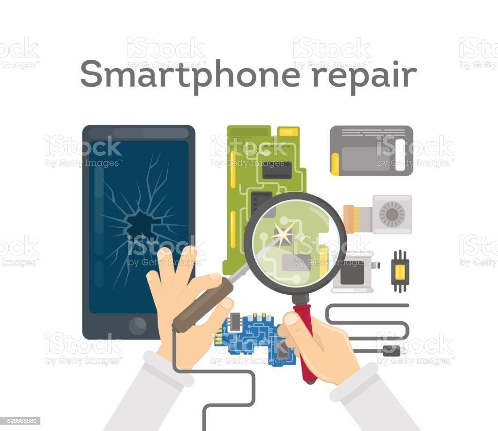 Smartphone repair work. vector art illustration