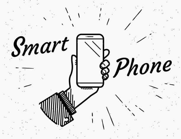 smartphone retro illüstrasyon - hand holding phone stock illustrations