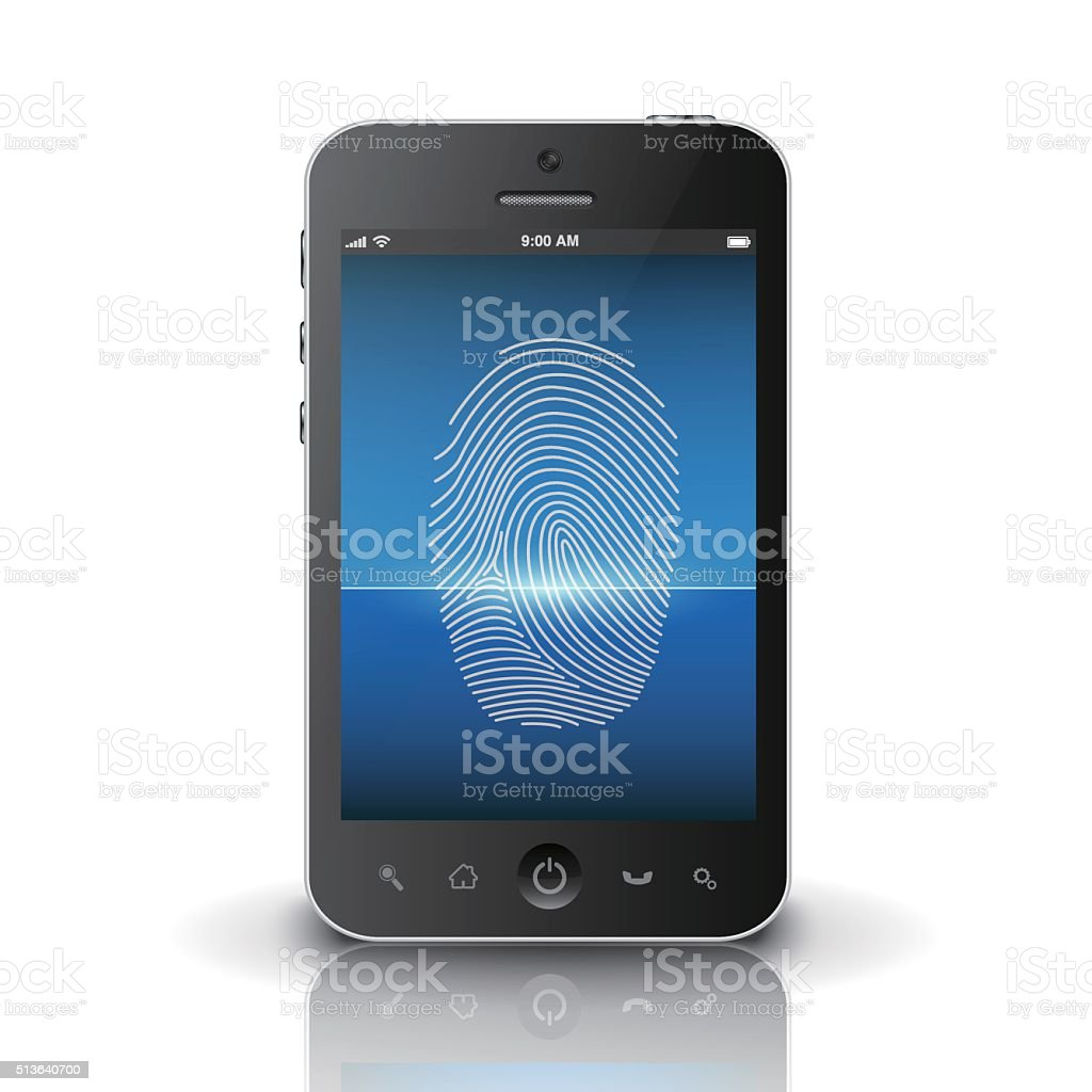 Smartphone scanning fingerprint on a screen vector art illustration