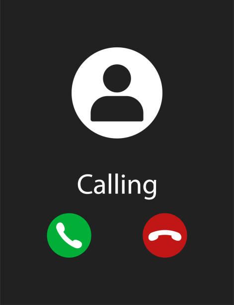 smartphone-bildschirm des telefons unter dem aufruf der schwarzen hintergrund-schnittstelle eingehende. - anfang stock-grafiken, -clipart, -cartoons und -symbole