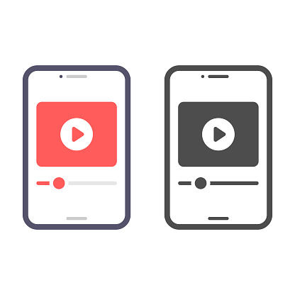 Smartphone Screen on Video Player Icon Vector Design.