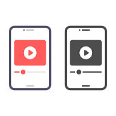istock Smartphone Screen on Video Player Icon Vector Design. 1302817507