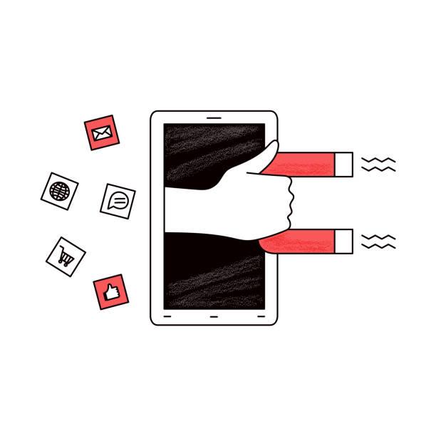 smartphone-bildschirm mit hand, die herauskommt und einen magneten hält - tablet mit displayinhalt stock-grafiken, -clipart, -cartoons und -symbole