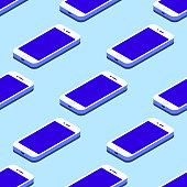 Smartphone seamless flat isometric pattern on blue background Vector illustration
