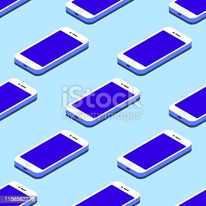 Smartphone seamless flat isometric pattern on blue background Vector illustration EPS
