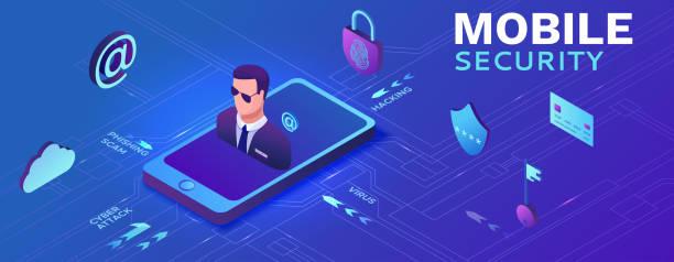 Smartphone-Sicherheitskonzept, Datenschutz, Cyberkriminalität, 3D-isometrische Vektorabbildung, Fingerabdruck, Phishing-Betrug, Informationsschutz, Mobile Sicherheit – Vektorgrafik