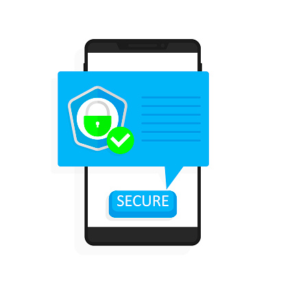 Smartphone Security Vector Illustration Flat Style Mobile
